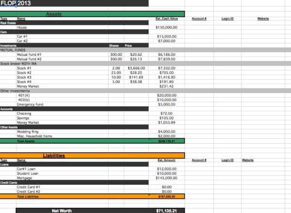 Financial Spreadsheet Organization
