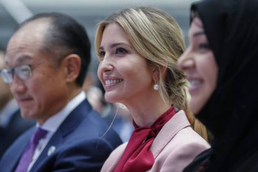 Ivanka Trump, centre, with World Bank President Jim Yong Kim, left, and Minister of State for International Cooperation United Arab Emirites Reem Bint Ebrahim al Hashimy, are shown at the 2017 IMF World Bank Group annual meetings at the IMF headquarters in Washington, D.C., on Oct. 14, 2017.