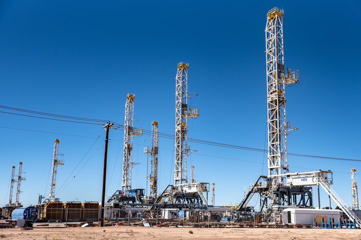 Oil rigs in the Permian Basin area of Odessa, Texas. Exxon Mobil plans to doubleits production in the Permian Basin to
