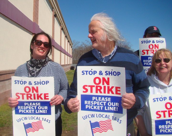 Pete Katsigianis stands on a picket line with fellow Stop & Shop workers at a store in Plainville, Massachusetts, on Wedn