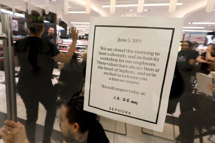 The sign at a closed Sephora store on Wednesday morning in New York.