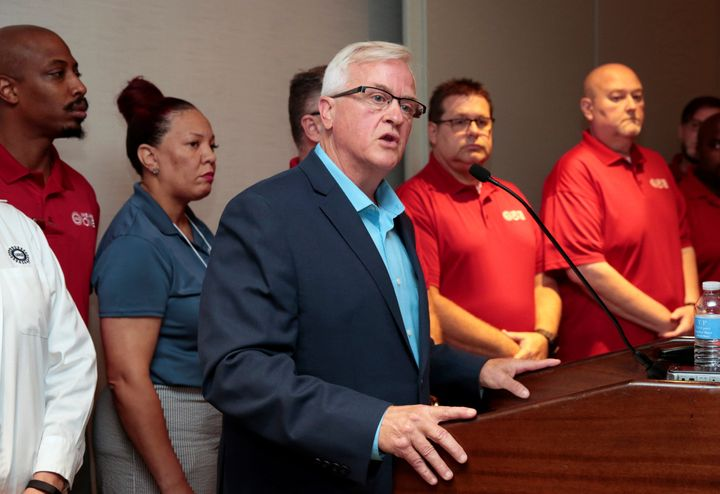 United Auto Workers Vice President Terry Dittes addresses the media while announcing a general strike against General Motors