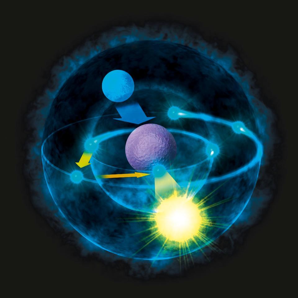 Illustration of how atoms emit light, based on Bohr model