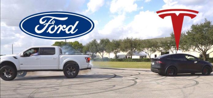 Tesla Model X vs Ford F150 Raptor tug-of-war hints at Cybertruck rematch