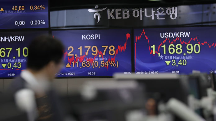 Asian markets gain after record highs on Wall Street