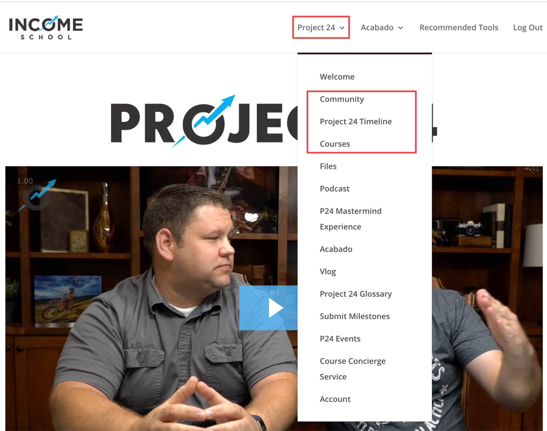 Project 24 welcome page and menu