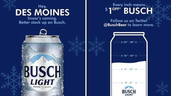 For every inch of snow, Busch beer prices drop $1