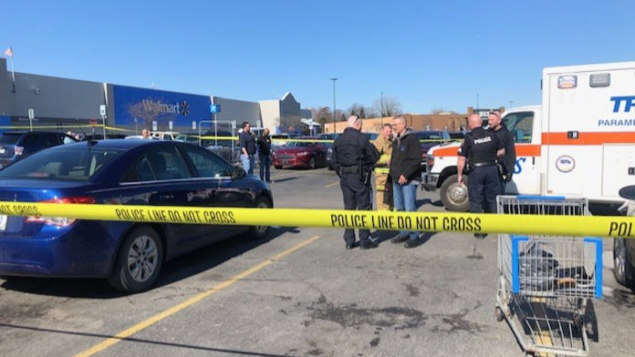 Man hit bat, car outside Walmart in serious condition