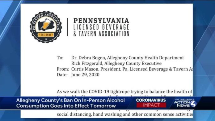 Pa. Licensed Beverage and Tavern Association sends letter to Allegheny County officials following ban of alcohol consumption at bars, restaurants